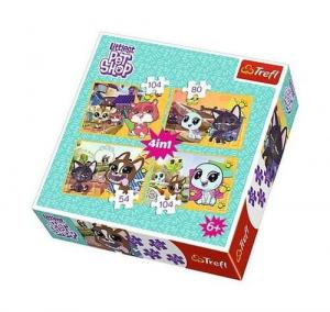 Puzzle 4w1 54+80+2x104el. Pet Shop 34295 Trefl
